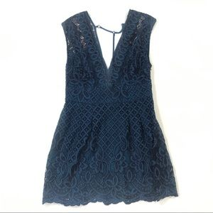 Free People lace dark blue dress